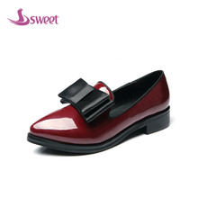 sweet Brand womens shoes woman flats Spring/Autumn Basic PU Slip-On Pointed Toe Solid Butterfly-knot LeisureB8(3)