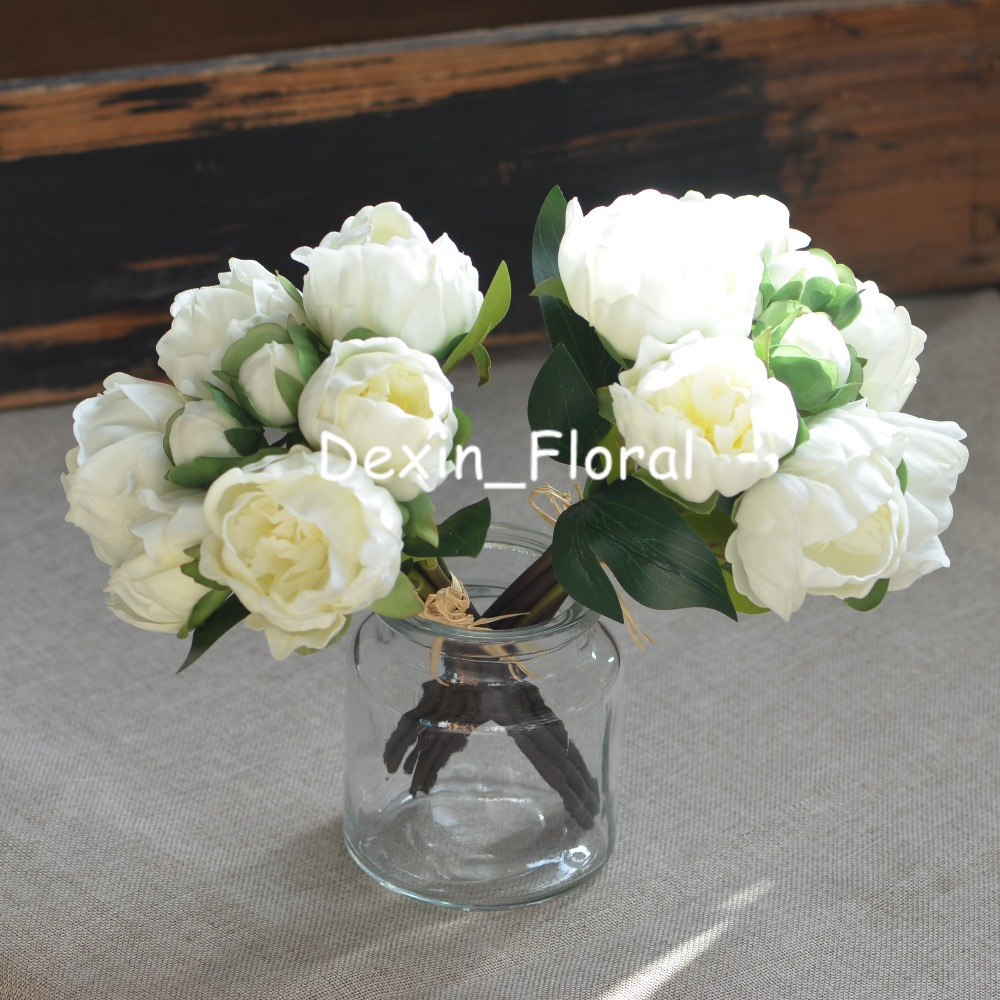 2 Bundles Ivory White Peonies Real Touch Peonies For Diy Wedding