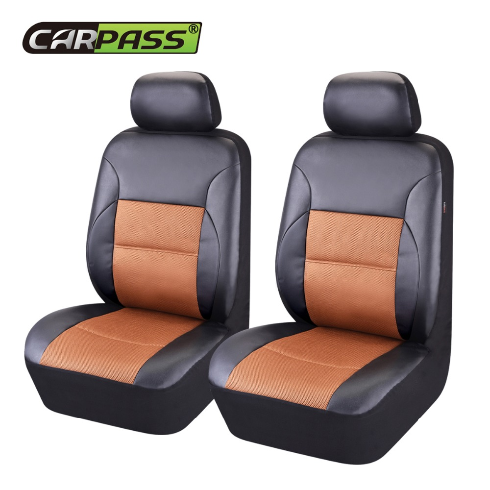 цена на PU Leather 2 Front Car Seat Covers Universal Fit Most Car Seat Cover Auto Interior Decoration Accessories Car Seat Protector
