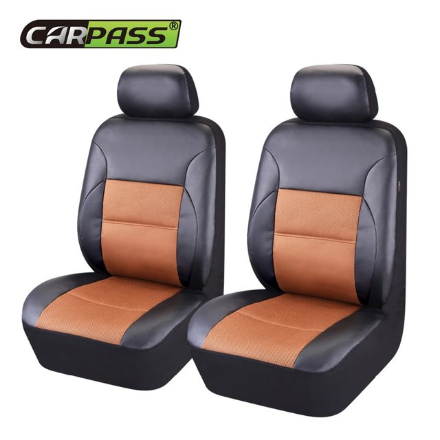 PU Leather 2 Front Car Seat Covers Universal Fit Most Cover Auto Interior Decoration Accessories Protector