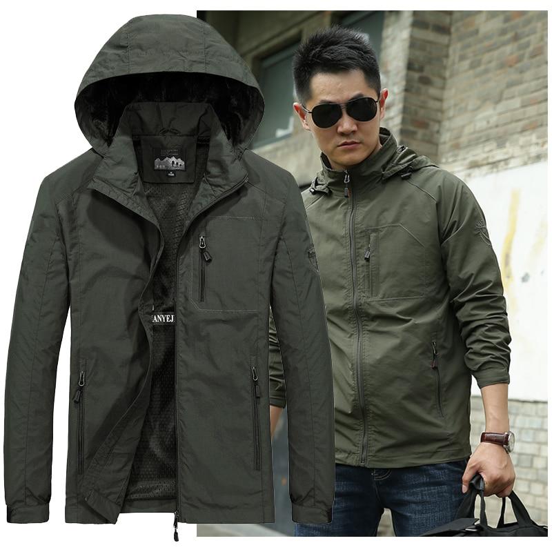Spring Jacket Men 5XL 6XL Waterproof Hooded Male Jacket Thin Casual Sporting Coat Motorcycle Fashion Outerwear Windbreaker Men