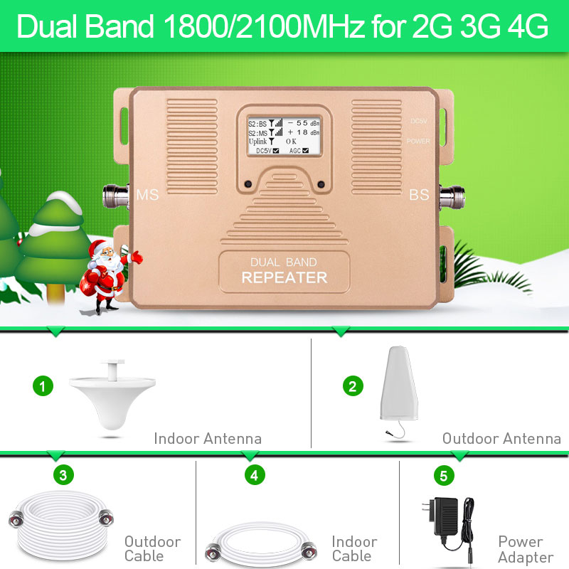 2G 3G 4G Dual Band 1800 2100MHz Cell phone Amplifier 2g3g4g repeater DCS UMTS mobile signal