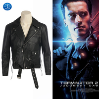 MANLUYUNXIAO Movie Terminator 2 Judgment Day Cosplay Costume Terminator Cosplay Men Black Leather Jacket Hot Sale Custom Made