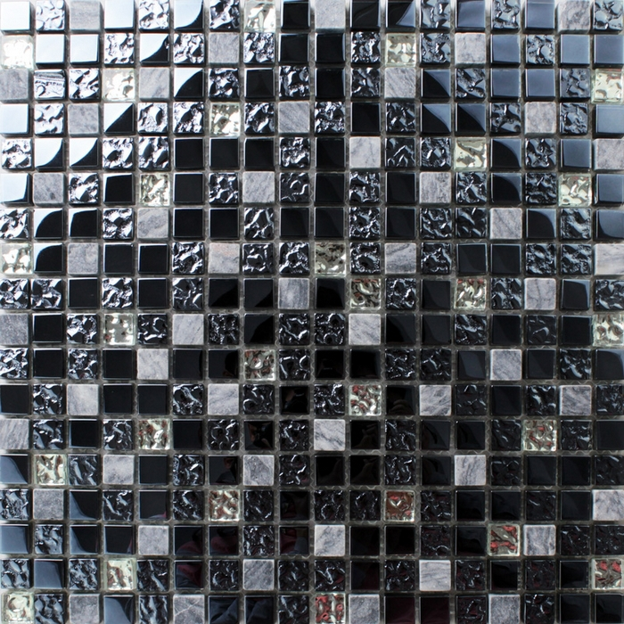 Black Gl Crystal Mixed Marble Square Mosaic Bathroom Wall Tiles Kitchen Backsplash Home Improvement House Renovation In Stickers From Garden