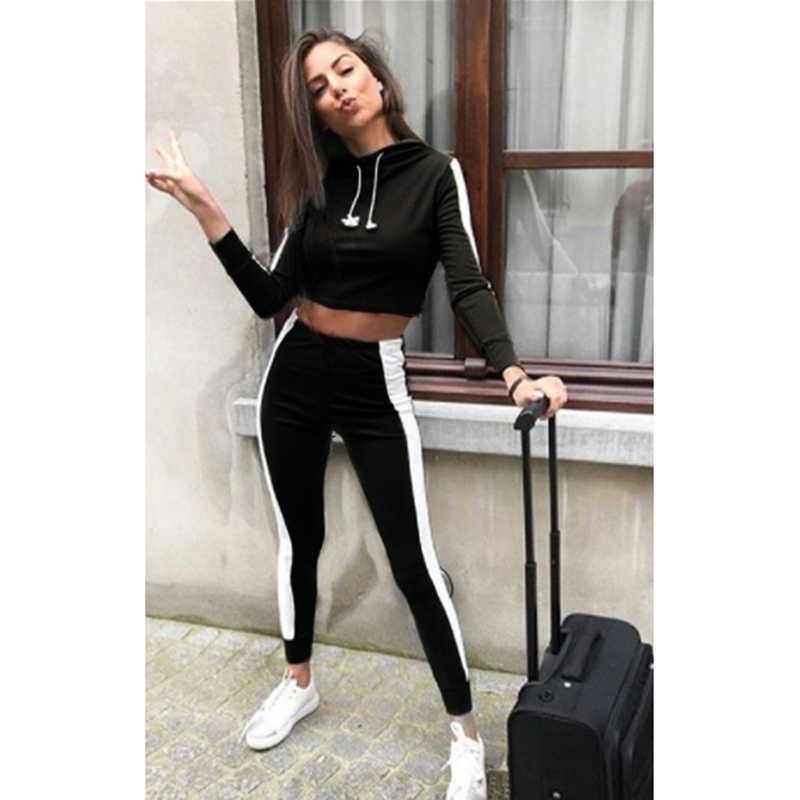 937f9b19e5 2pcs Tracksuit Women Set Hoodies Cropped Sweatshirt Side Stripe Pants  Trousers Hooded 2 Pieces Suits Pullover Joggers Female