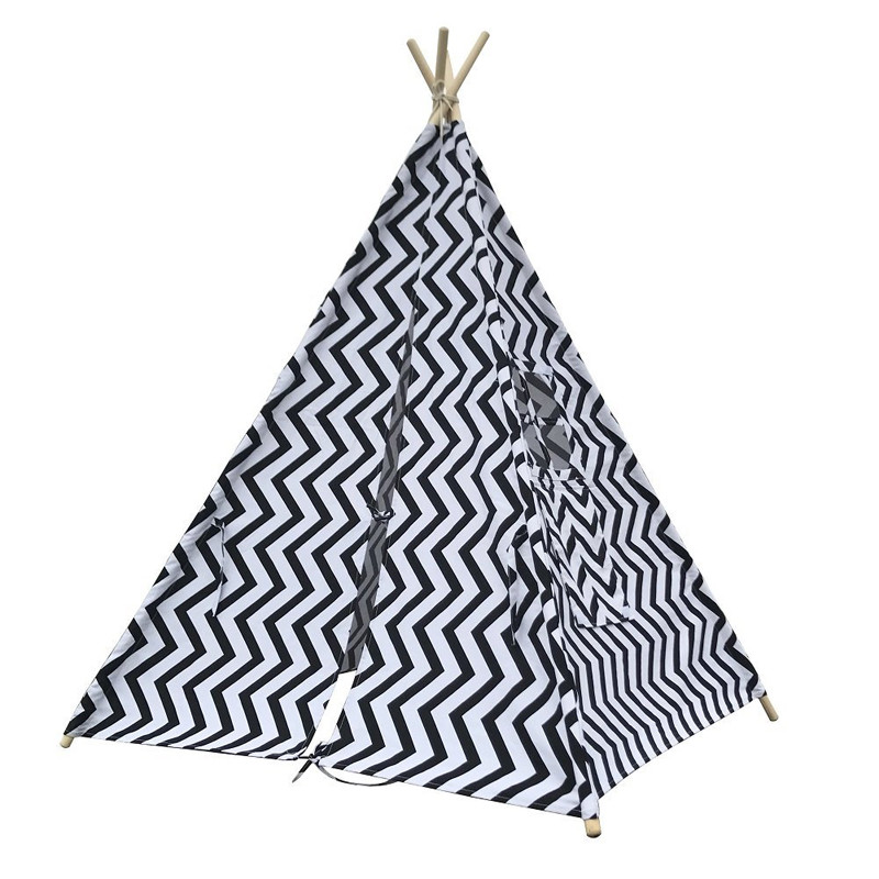 Black Chevron Teepee Tent for Kids Canvas Children Tipi Indian Play Tent Tepee black chevron teepee play tent childrens wigwam tent canvas teepee tent tipi kids tipi tente enfant