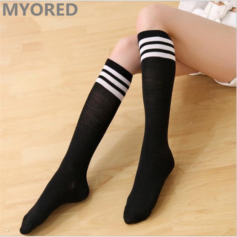 MYORED bonbonfarbene Streifen Baumwolle sexy Damen lange Socken Stil Party Street Dance Kniestrümpfe