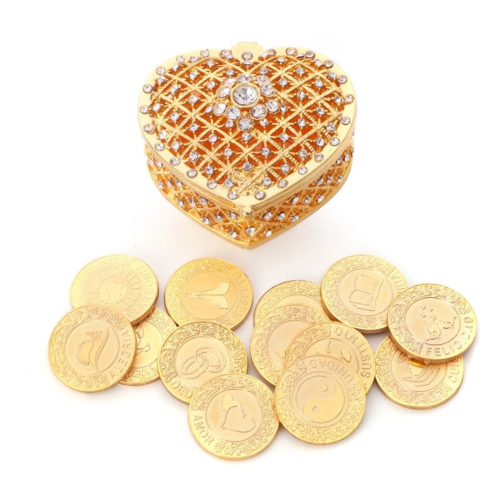 Gold Spaish Wedding Arras de Boda Unity Coins Set with Heart Gift Box Spain Silver Arraz