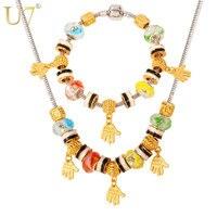U7 Fait À La Main Perles Bijoux Ensemble Or Couleur Coloré Cristal Européenne Style Brin Perle Bracelet Collier Set Gros S600
