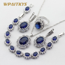 Classic Silver Color Bridal Jewelry Sets For Women Blue Crystal Necklace Pendant Bracelets Earrings Rings Free Box все цены