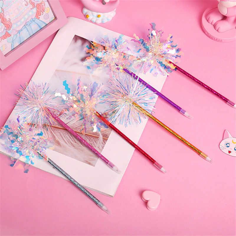 1 ชิ้น New แฟชั่น Shining สีสันปากกาลูกลื่นปากกาเลเซอร์ Glitter ผ้าไหมปากกาเจลสำหรับโรงเรียนนักเรียนลายเซ็นปากกาของขวัญสำหรับสาว