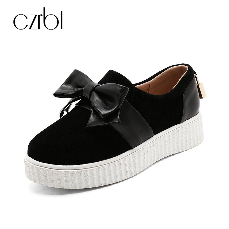 CZRBT New PU Leather Bowknot Round Toe Fashion Student Casual Shoes Stars Slip-on Flat Women Loafers Girl Platform Shoes 34-43 lin king fashion pu leather women flats shoes round toe loafers comfortable slip on casual shoes solid breathable girl lazy shoe
