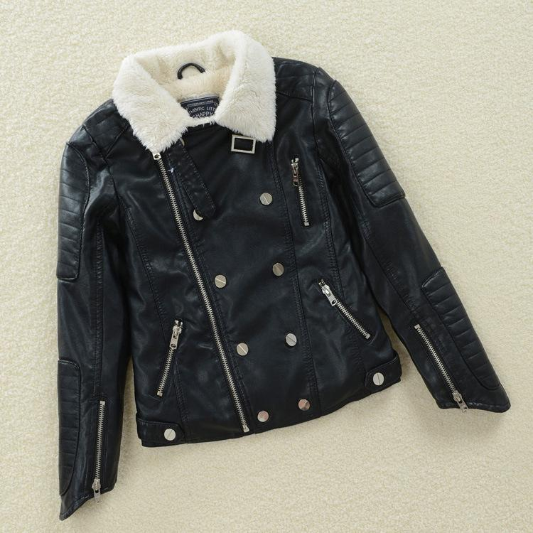 ФОТО High Quality Girls PU Leather Autumn Winter Jackets of 2015 Children Fashion 3-11Y Clothing Kids Warm Outerwear