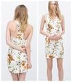 ZA Branco Decote Sem Mangas Floral Imprimir Vestido de Verão 2015 novos das mulheres Com Decote Em V halter Elegante Vestido Cheio Robe para feminino