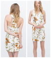 ZA White Low Neckline Sleeveless Floral Print Dress 2015 Summer new women's V-neck halter Elegant Full Robe Dress for Female