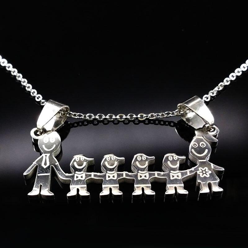 Нержавеющаясталь мальчики девочки кулон Цепочки и ожерелья s Мама Дети Серебряная цепочка колье Нержавеющаясталь Neckless Для женщин ND16A