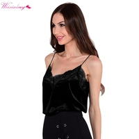 WEIXINBUY Women Lace Slip Style Spaghetti Strap Shirts Velvet Camis Sexy Velour Tank Top Casual Blouse Cheap Clothes