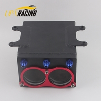 new product 60mm dual port external 044 fuel pump tank racing black Billet aluminium with fitting oil catch can fuel surge tank