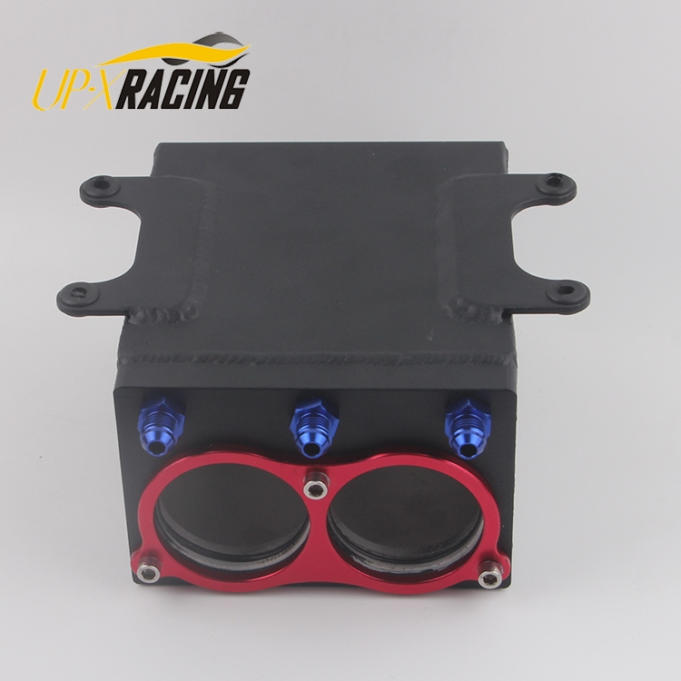 new product 60mm dual port external 044 fuel pump tank racing black Billet aluminium with fitting oil catch can fuel surge tank tansky high q external 044 dual fuel pump anodized billet aluminum fuel surge tank tk yx6012 2k044