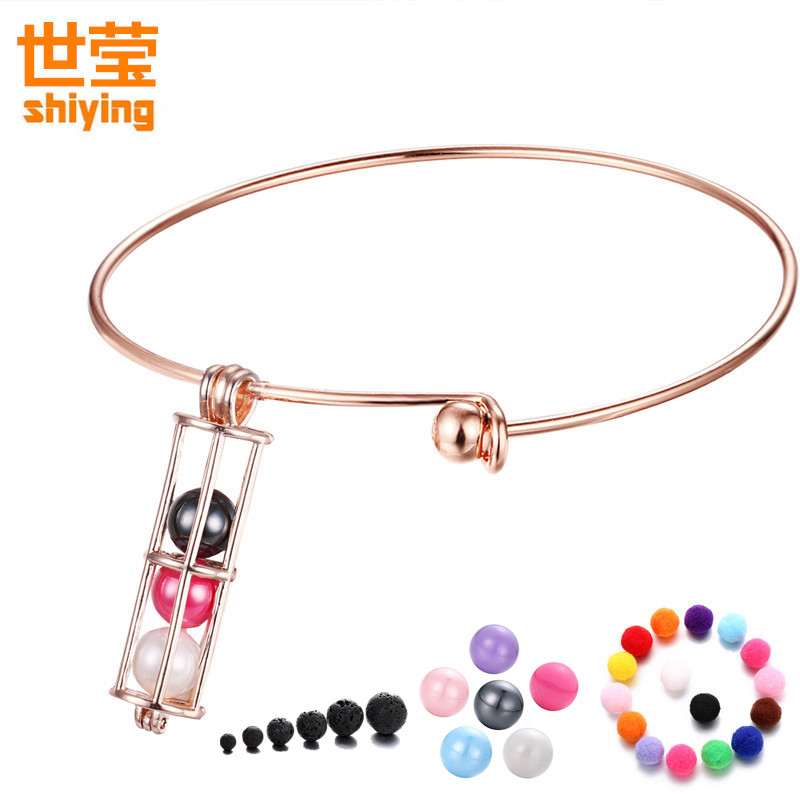 SHIYING (5soft beads ) aromatherapy lockets bangle Free felt beads Hollow Essential Oils diffuser Cylinder shape S108