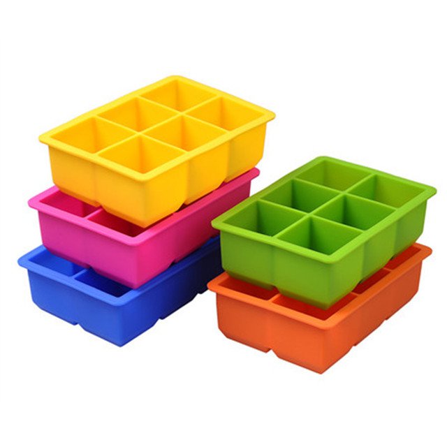 DIY Creative Ice Cube Mold Silicone 6 Holes Square Shape Ice Tray Fruit Ice Cube Maker Bar Kitchen Accessories