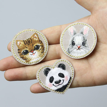 1 ШТ. Panda Ткань Наклейка для Платье Шляпа Сумка Милый Кролик Патч Железа На Патч Кот