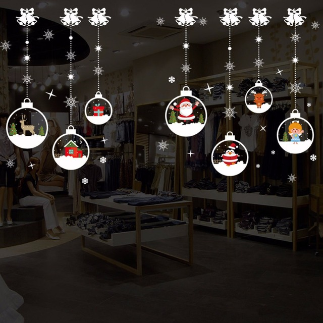merry christmas removable diy wall stickers shop window stickers noel christmas decorations for home natal new - Noel Christmas Store