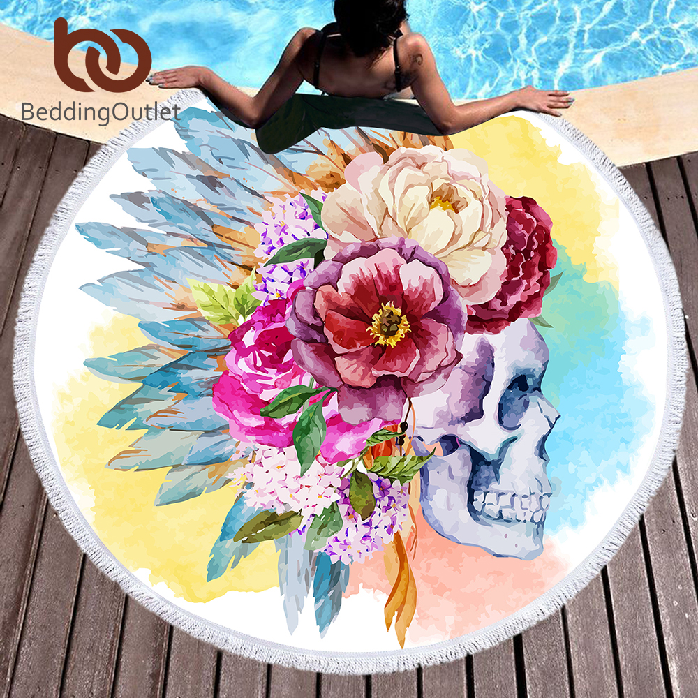 BeddingOutlet Colorful Skull Round Beach Towel Floral Tassel Tapestry Watercolor Flower Yoga Mat Gothic Toalla Blanket 150cm