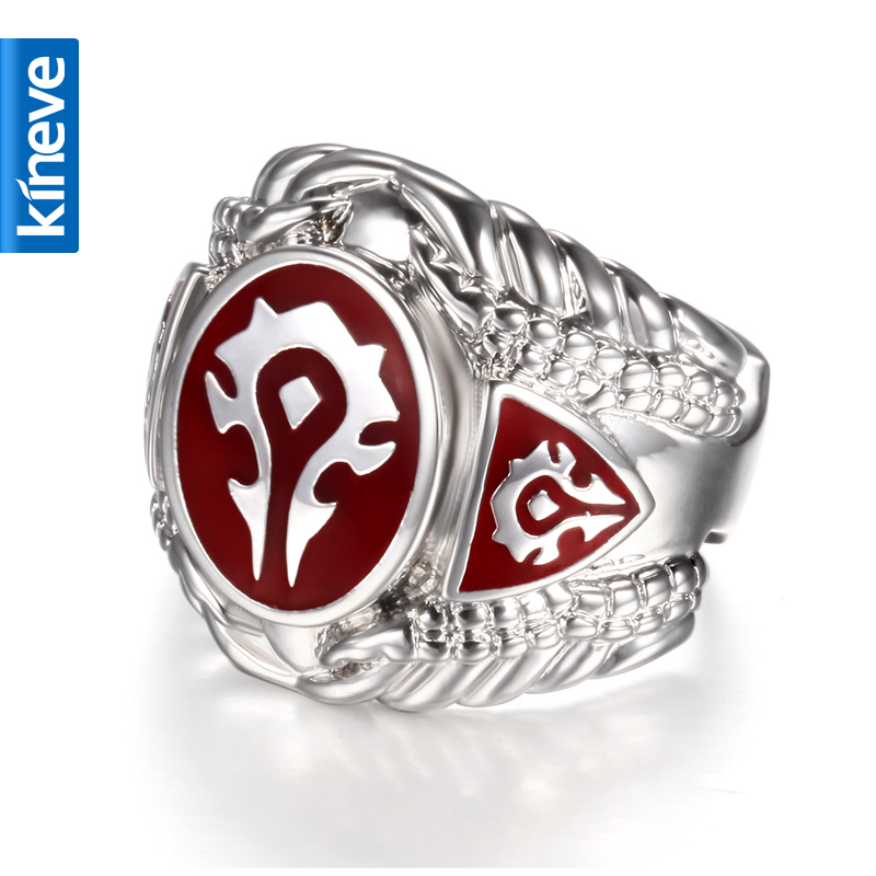 Kineve World of Warcraft Horde Ring Fashion Men's Ring Free Shipping Titanium Steel Ring Jewelry цена