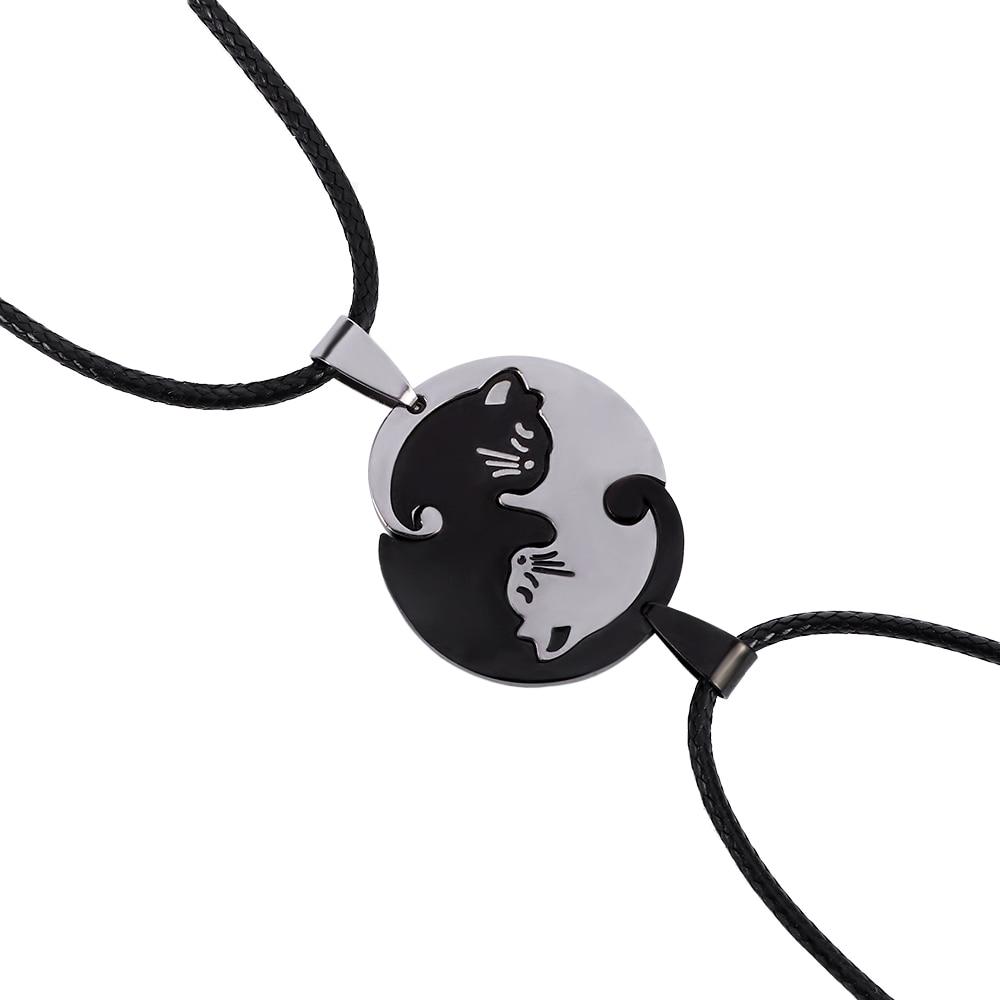 2pcs/set Fashion Vintage Couple Jewelry Necklaces Black Whit…