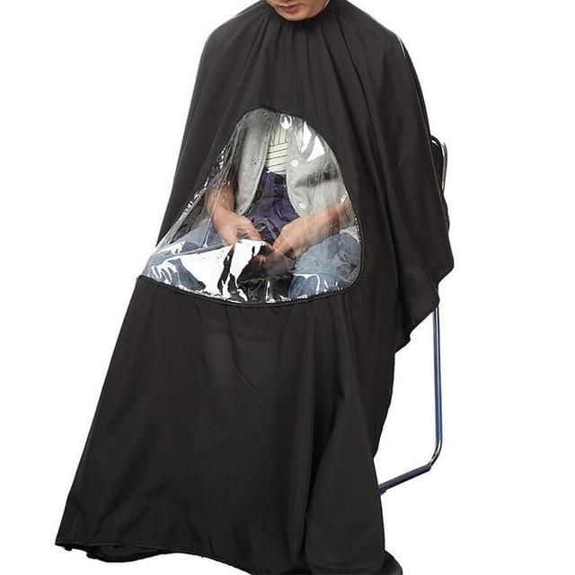 115*80cm profissional à prova dwaterproof água estilo salão de beleza barbeiro cabeleireiro corte cabelo vestido de cabeleireiro capa com visualização avental janela
