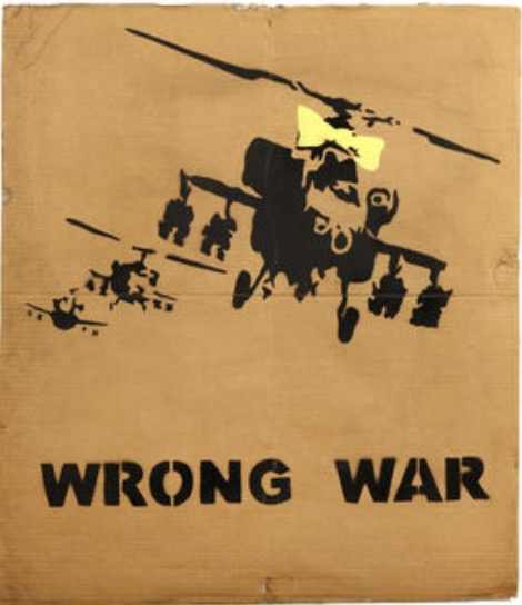 Wrong War Armed Helicopter Banksy Street Art Decorative