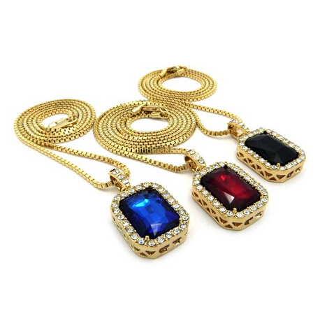 Micro Square Red & Black & Blue Necklace Pendant 2.4mm 24 1