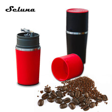 Seluna Modern 2 in 1 Portable Coffee Grinder Maker Mug Manual Grinding Machine Mill Outdoor Camping Travel Pour-over Coffee Cup