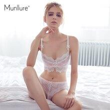Munllure 2016 Fresh and elegant ultra-thin cotton comfortable soft gauze lace underwear women bra set