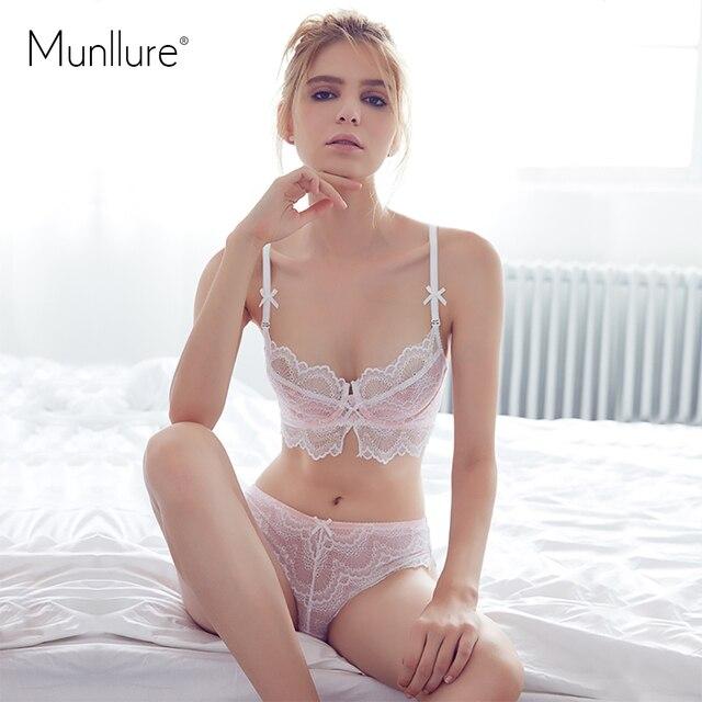 Munllure 2016 свежий и элегантный ультра-тонкий хлопок удобные мягкие газовое кружевное нижнее белье женские комплект с бюстгальтером