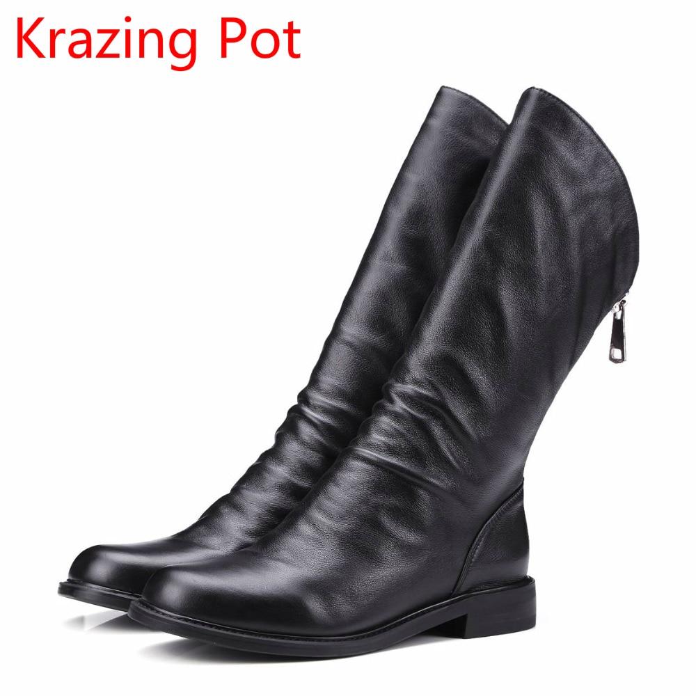 New Arrival Genuine Leather Zipper Keep Warm Round Toe Thick Heels Concise Runway Elegant Handmade Mid