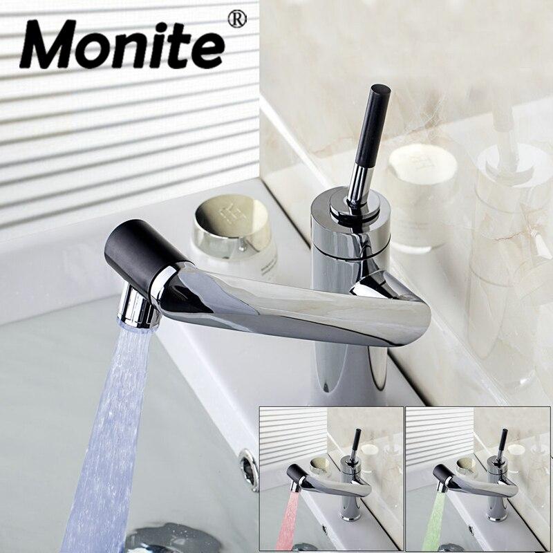 Светодиодный повернуть кран воды Ванная комната кран Кухня поворотный кран горячей и холодной Смесители бассейна раковина кран