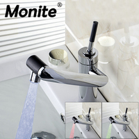 Monite LED rotate faucet water Bathroom Faucet Kitchen Swivel Faucet Hot And Cold Mixer Taps basin Sink Faucet