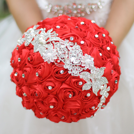 Red Chinese Style Wedding Bouquet Custom Red & Silver
