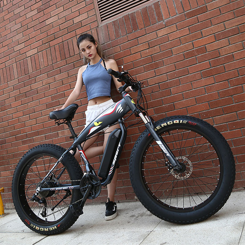 custom MTB 26inch electric snow bicycle Beach electric bike 48V 1000w powerful motor Fat tires off road electric mountain ebike in Electric Bicycle from Sports Entertainment