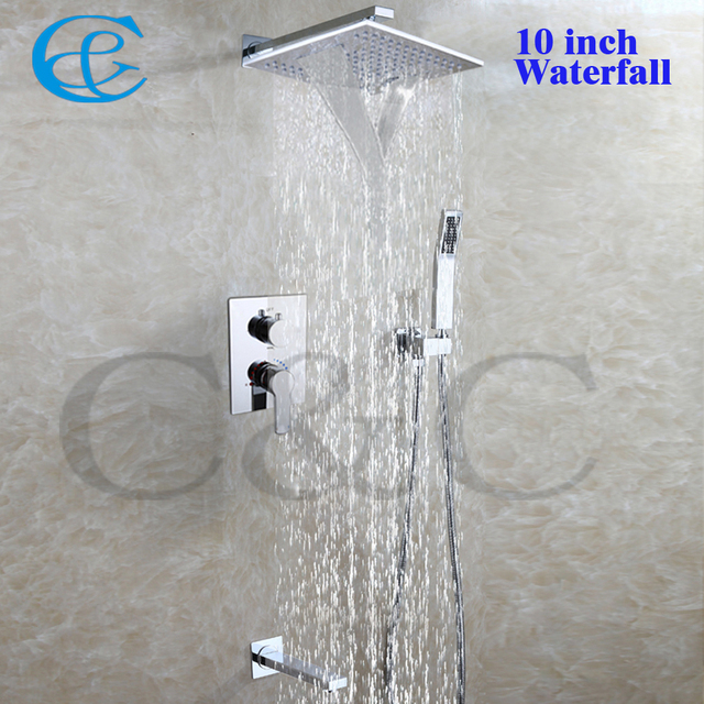 Incroyable 10 Inch Chrome Copper Rain And Waterfall Shower Head Set Brass Hand Shower  Holder Easy