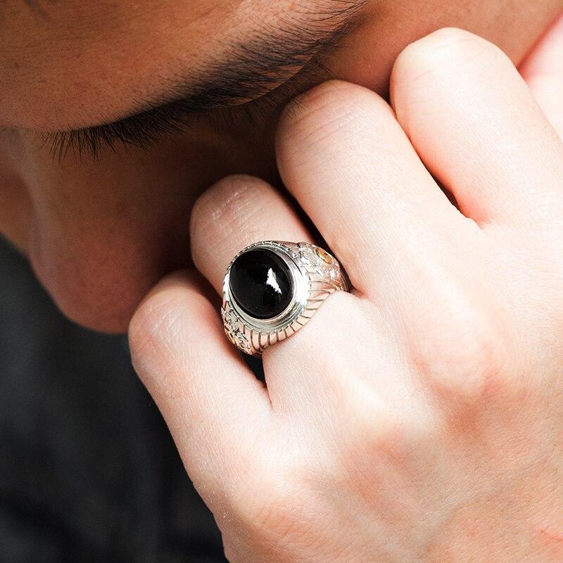 925 silber Sechs Worte Wahrheit Schwarz Ring - 4