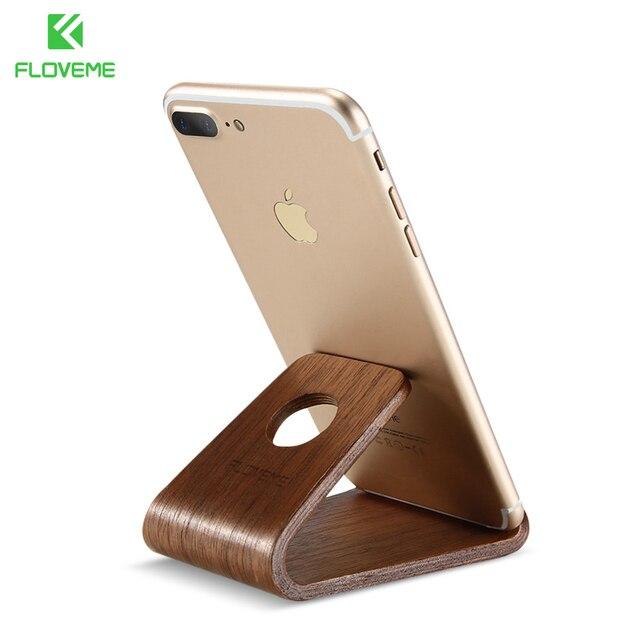 wholesale dealer cb6a9 f4f90 US $8.22  FLOVEME עץ X 8 טלפון Stand מחזיק עבור Apple iPhone 7 6 טלפון נייד  בעל שולחן לוח תמיכה 5S מעמד ...