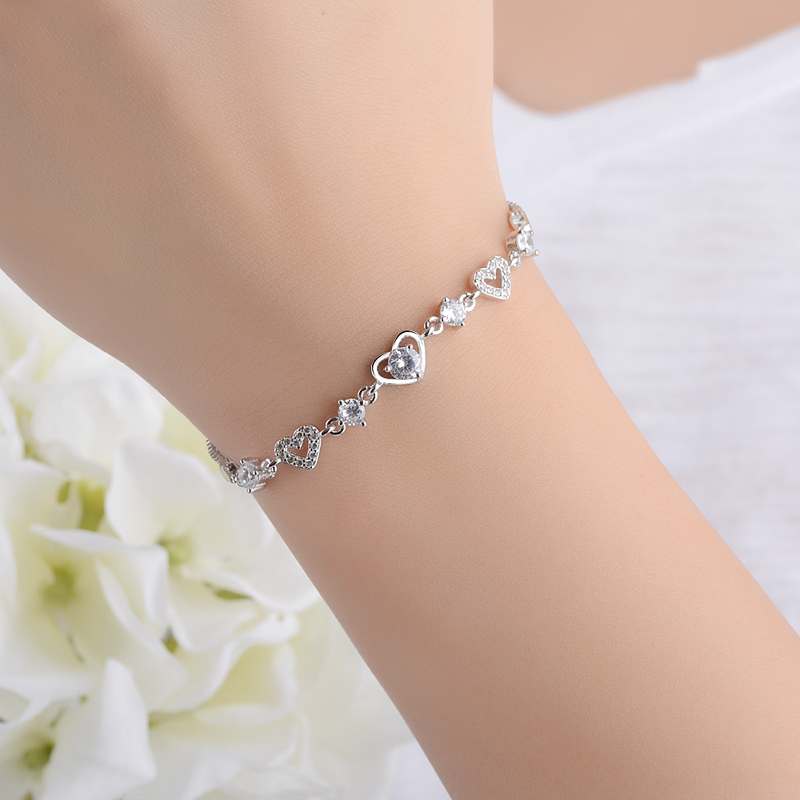 Trendy Sweet Style Crystal Women Bracelet Fashion 925 Sterling Silver Bangle Girl New Arrival Bride Wedding Party BraceletsTrendy Sweet Style Crystal Women Bracelet Fashion 925 Sterling Silver Bangle Girl New Arrival Bride Wedding Party Bracelets