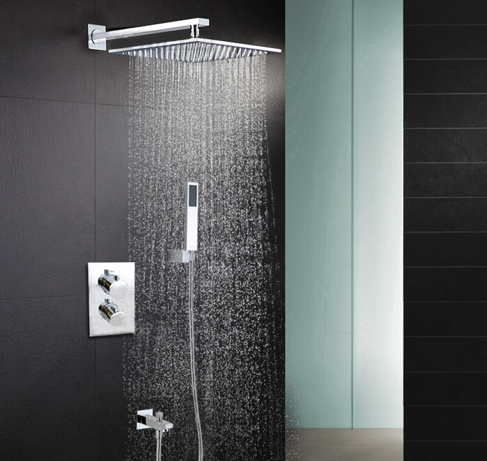8 inch Thermostatic two Ways Bathroom Shower Set Faucet Luxury Shower Head Mixer Tap SS088