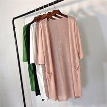 Women Knitted Cardigan 2019 Summer Fall Medium-Long Poncho Female Sunscreen Thin Coats Air Conditioning Shirt Cardigans Feminino