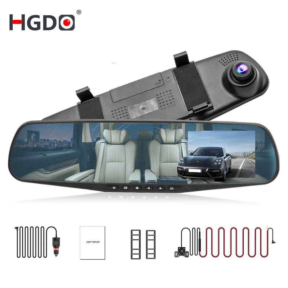 HGDO 4 3 FHD 1080P Dual Lens Car DVR Mirror Dash Cam auto Recorder Rearview Mirror