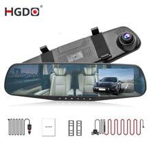 HGDO 4.3'' FHD 1080P Dual Lens Car DVR Mirror Dash Cam auto Recorder Rearview Mirror Night Vision Rear View Camera loop record цена и фото