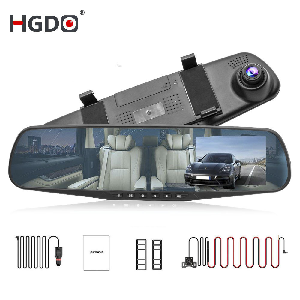 HGDO 4.3'' FHD 1080P Dual Lens <font><b>Car</b></font> <font><b>DVR</b></font> <font><b>Mirror</b></font> Dash Cam auto Recorder Rearview <font><b>Mirror</b></font> Night Vision Rear View Camera loop record image